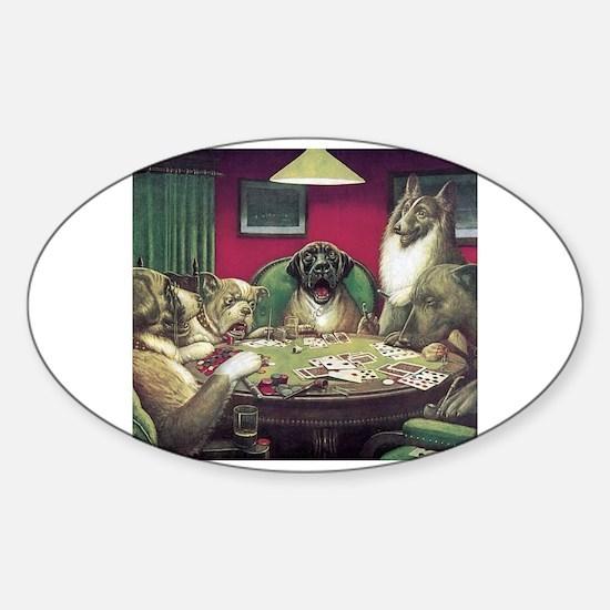 Cute Dogs playing poker Sticker (Oval)