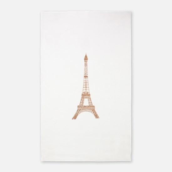 Rose Gold Paris Eiffel tower Area Rug