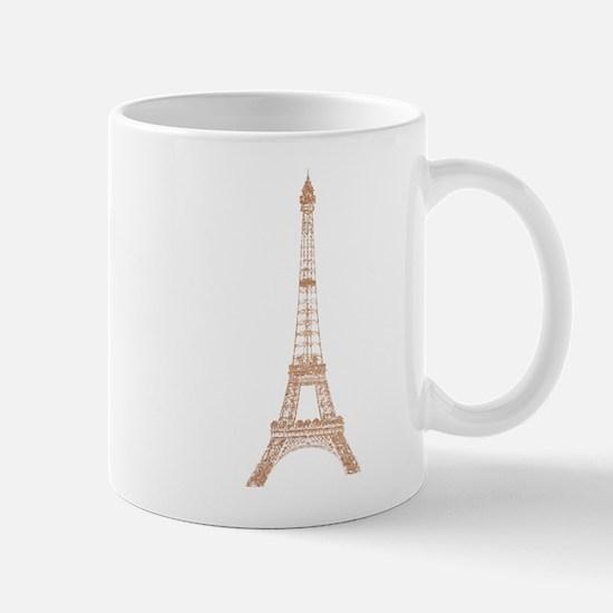 Rose Gold Paris Eiffel tower Mugs