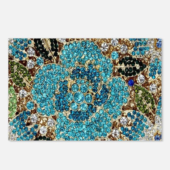 bohemian floral turquoise Postcards (Package of 8)
