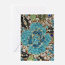 bohemian floral turquoise rhineston Greeting Cards