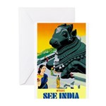 India Travel Advertising Print Greeting Cards