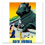 India Travel Advertising Print Square Car Magnet 3