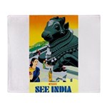 India Travel Advertising Print Throw Blanket