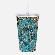 bohemian floral turquo Acrylic Double-wall Tumbler