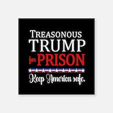 """Treasonous Trump Prison Square Sticker 3"""" x 3"""""""