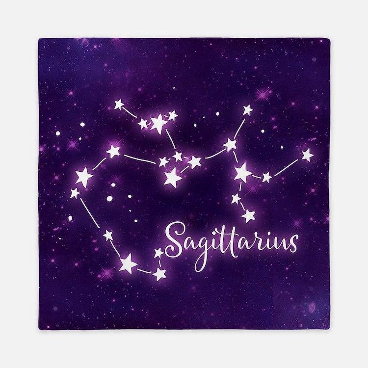 Sagittarius Zodiac Constellation Queen Duvet