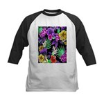 Colorful Flower Design Print Baseball Jersey