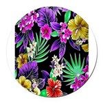 Colorful Flower Design Print Round Car Magnet