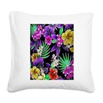 Colorful Flower Design Print Square Canvas Pillow