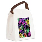 Colorful Flower Design Print Canvas Lunch Bag