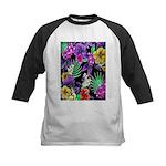 Colorful Flower Design Print Baseball Jersey