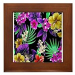 Colorful Flower Design Print Framed Tile