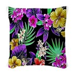 Colorful Flower Design Print Woven Throw Pillow