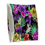 Colorful Flower Design Print Burlap Throw Pillow