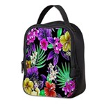 Colorful Flower Design Print Neoprene Lunch Bag