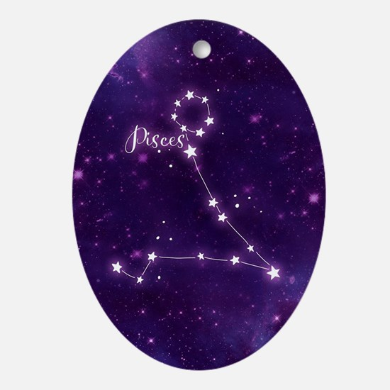 Pisces Zodiac Constellation Oval Ornament