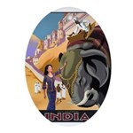 India Vintage Travel Advertising Print Oval Orname