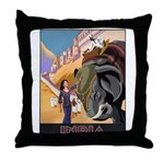India Vintage Travel Advertising Print Throw Pillo