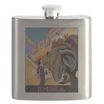 India Vintage Travel Advertising Print Flask