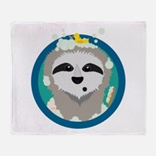 Bathing Sloth with bubbles Throw Blanket
