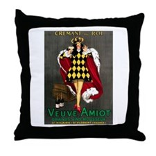 Vintage French Wine Poster Throw Pillow