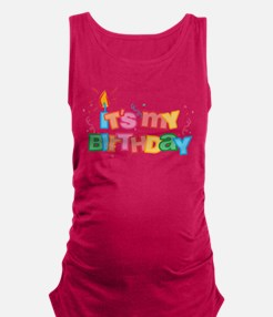 It's My Birthday Letters Maternity Tank Top (d