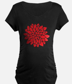 Bold Red Graphic Flower Modern Maternity T-Shirt