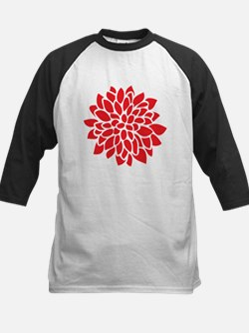 Bold Red Graphic Flower Modern Baseball Jersey