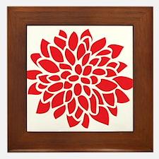 Bold Red Graphic Flower Modern Framed Tile