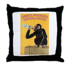 Monkey Liquor Poster Throw Pillow