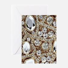 bohemian girly gold rhinestone Greeting Cards