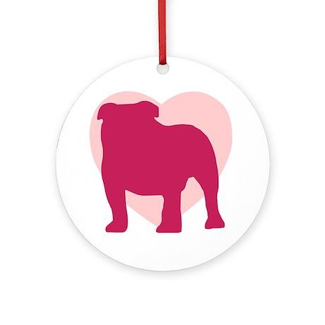 Bulldog Valentine's Day Ornament (Round)