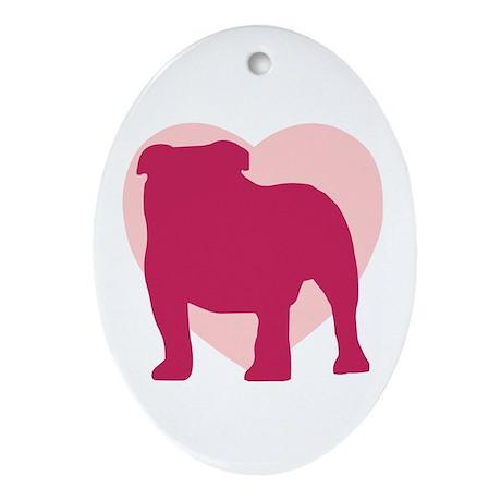 Bulldog Valentine's Day Oval Ornament