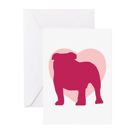 Bulldog Valentine's Day Greeting Cards (Pk of 10)