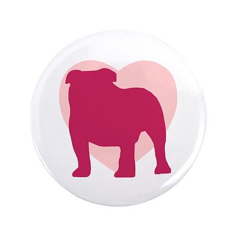 "Bulldog Valentine's Day 3.5"" Button"