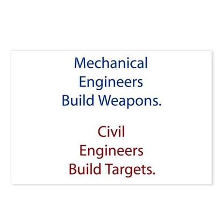 Mechanical Engineers and Civil Engineers Postcards