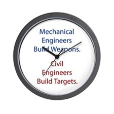 Mechanical Engineers and Civil Engineers Wall Cloc