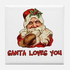 Santa Loves You Tile Coaster