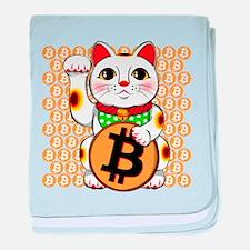 Maneki Neko Lucky Cat Bitcoin Right baby blanket