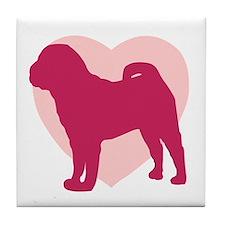 Shar Pei Valentine's Day Tile Coaster
