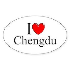 """""""I Love Chengdu"""" Oval Decal"""