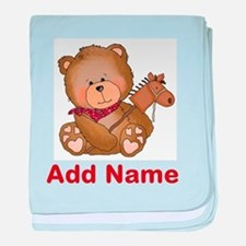 cowboy bear personalized baby blanket