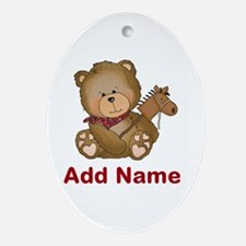 cowboy bear personalized Oval Ornament