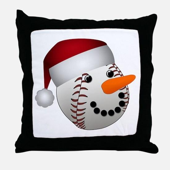 Christmas Baseball Snowman Throw Pillow
