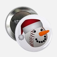 "Christmas Baseball Snowman 2.25"" Button"