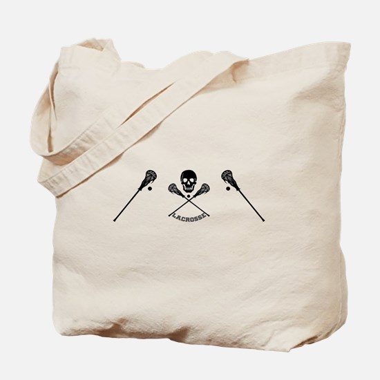 Skull and Lacrosse Sticks Tote Bag