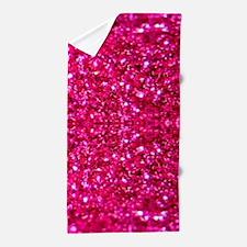 hot pink glitter Beach Towel