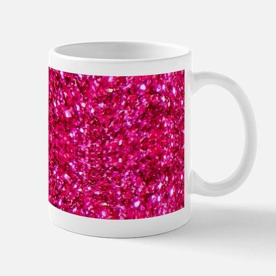 hot pink glitter Mugs