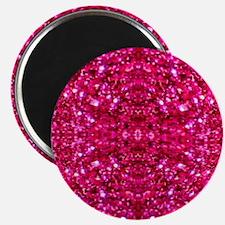 hot pink glitter Magnets